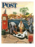 """Inflating Beach Toy "" Saturday Evening Post Cover  August 20  1949"