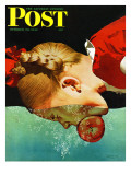 """Bobbing for Apples "" Saturday Evening Post Cover  October 30  1943"