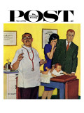 """Baby's First Shot "" Saturday Evening Post Cover  March 3  1962"