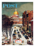"""Park Street  Boston "" Saturday Evening Post Cover  January 7  1961"