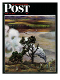 """""""Steam Engine Along the Missouri """" Saturday Evening Post Cover  June 22  1946"""