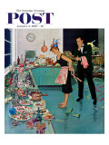 """After Party Clean-up "" Saturday Evening Post Cover  January 2  1960"
