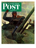"""Tank Attack "" Saturday Evening Post Cover  January 9  1943"