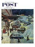"""Commuter Station Snowed In "" Saturday Evening Post Cover  December 24  1960"