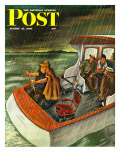 """Deep Sea Fishing in Rain "" Saturday Evening Post Cover  August 31  1946"