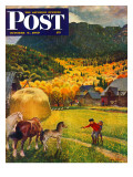 """Belgian Horse Farm "" Saturday Evening Post Cover  October 8  1949"