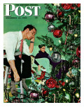 """""""Trimming the Tree,"""" Saturday Evening Post Cover, December 24, 1949 Giclée par George Hughes"""