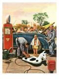 """Inflating Beach Toy,"" August 20, 1949 Giclée par Stevan Dohanos"