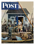 """Buying Lobsters "" Saturday Evening Post Cover  July 2  1949"