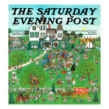 """""""Lawn Party """" Saturday Evening Post Cover  August 1  1974"""