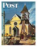 """""""Church Belfry Repair """" Saturday Evening Post Cover  April 20  1946"""