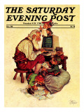 """Santa's Computer "" Saturday Evening Post Cover  December 1  1982"