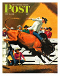 """""""Bull Riding """" Saturday Evening Post Cover  July 21  1945"""