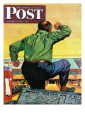 """""""Bowling a Split """" Saturday Evening Post Cover  January 6  1945"""