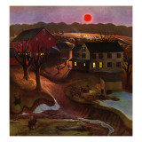 """Nighttime Farm Landscape "" January 12  1946"