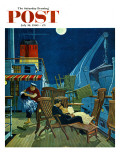"""""""Romantic Night on Deck """" Saturday Evening Post Cover  July 16  1960"""