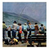 """Pier Fishing "" August 13  1949"