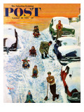 """Sledding and Digging Out "" Saturday Evening Post Cover  January 28  1961"