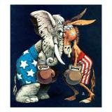 """Democrats vs. Republicans,"" July/Aug 1980 Giclée par BB Sams"