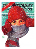 """Bundled Up "" Saturday Evening Post Cover  Jan/Feb 98"