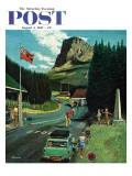 """US/Canadian Border at Waterton-Glacier "" Saturday Evening Post Cover  August 5  1961"