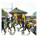 """Commuters in the Rain "" October 7  1961"