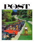 """Speeder on the Median "" Saturday Evening Post Cover  June 2  1962"