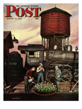 """Trainyard Flower Garden "" Saturday Evening Post Cover  August 9  1947"