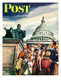 """""""Tourists in Washington D C """" Saturday Evening Post Cover  August 7  1948"""