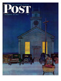 """Rural Church at Night "" Saturday Evening Post Cover  December 30  1944"