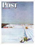 """Waiting for School Bus in Snow "" Saturday Evening Post Cover  February 1  1947"