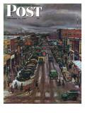 """""""Falls City  Nebraska at Christmas """" Saturday Evening Post Cover  December 21  1946"""