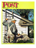 """Housepainter and Bird's Nest "" Saturday Evening Post Cover  May 12  1945"