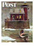 """Christmas at the Lighthouse "" Saturday Evening Post Cover  December 28  1946"