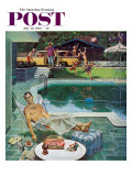 """Unwelcome Pool Guests "" Saturday Evening Post Cover  July 22  1961"