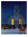 """Rural Church at Night "" December 30  1944"