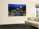 Tourist Taking Picture from Pintor Zabaleta Balcony of La Yedra Castle Illuminated at Night
