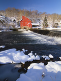 Winter Scenic with a Red Gristmill