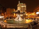Tritone Fountain at Night  Rome  Italy