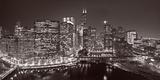 Chicago River Panorama BW