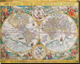 Antique Map, Orbis Terrarum, 1636 Tableau sur toile par Jean Boisseau