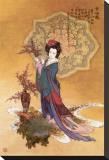 Femme entourée de fleurs couleur prune Tableau sur toile