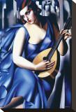 Femme en Bleu Avec Guitare Tableau sur toile par Tamara De Lempicka