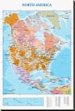 Carte d'Amérique du Nord Tableau sur toile