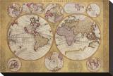 Antique Map, Globe Terrestre, 1690 Tableau sur toile par Vincenzo Coronelli