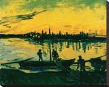 Unloading at Arles, c.1888 Tableau sur toile par Vincent Van Gogh