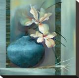 Lilies in a Blue Vase Tableau sur toile par Louise Montillio