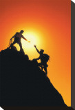 Mountain Climbers Reaching Summit