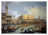 The Betrothal of the Venetian Doge to the Adriatic Reproduction d'art par Canaletto