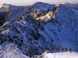 Traversing the Aonach Eagach Ridge Above Glencoe  Scottish Highlands